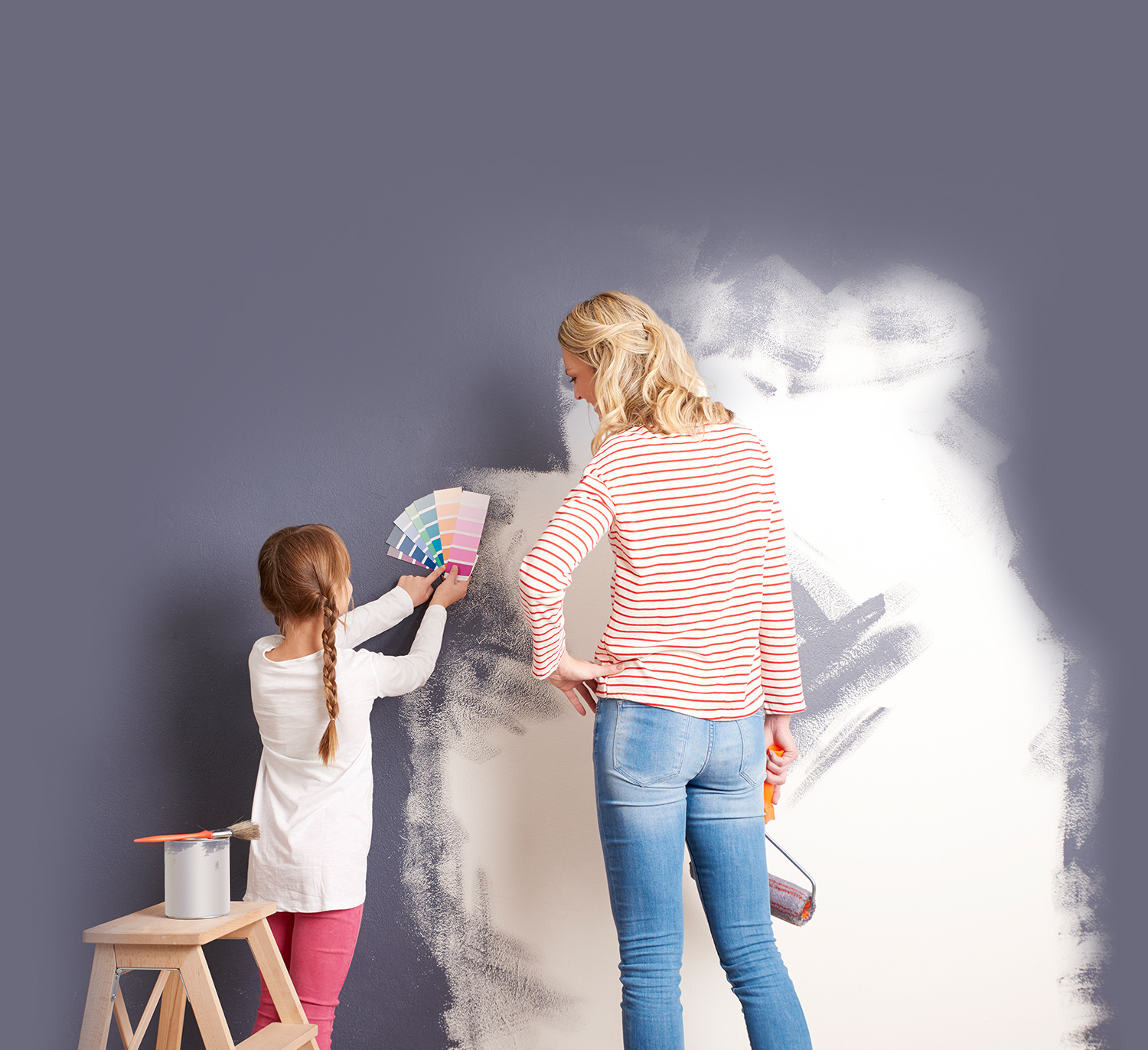 home painting wall mother and daughter