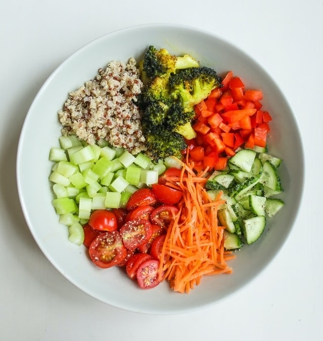 Vegetable medley and quinoa in a bowl