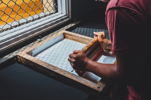 screen printing ink through the frame