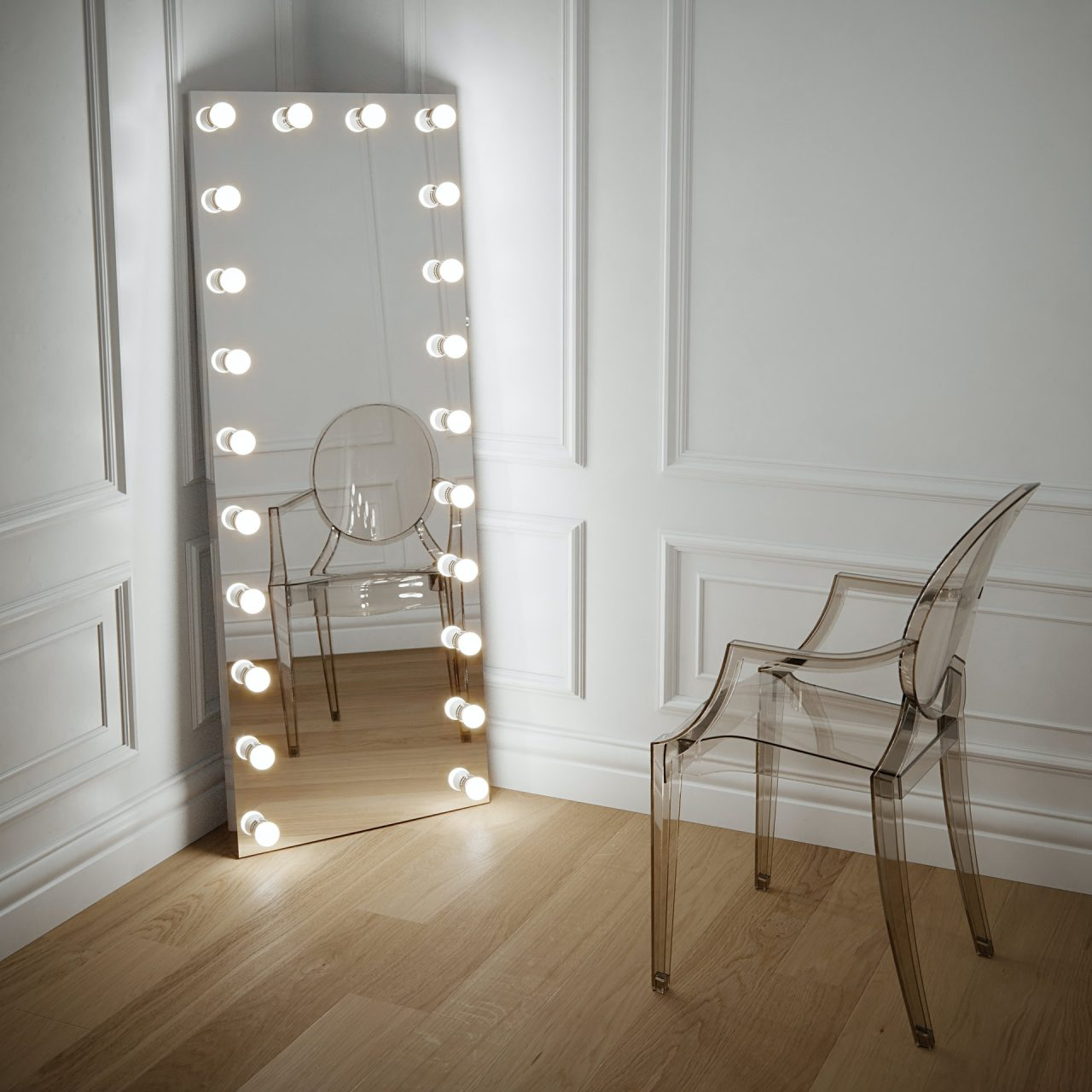 large hollywood style mirror