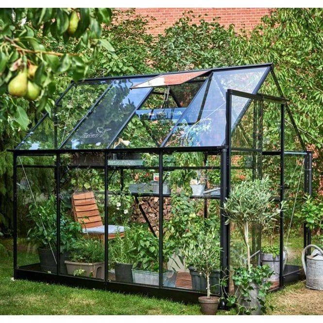 Greenhouse nestled in garden